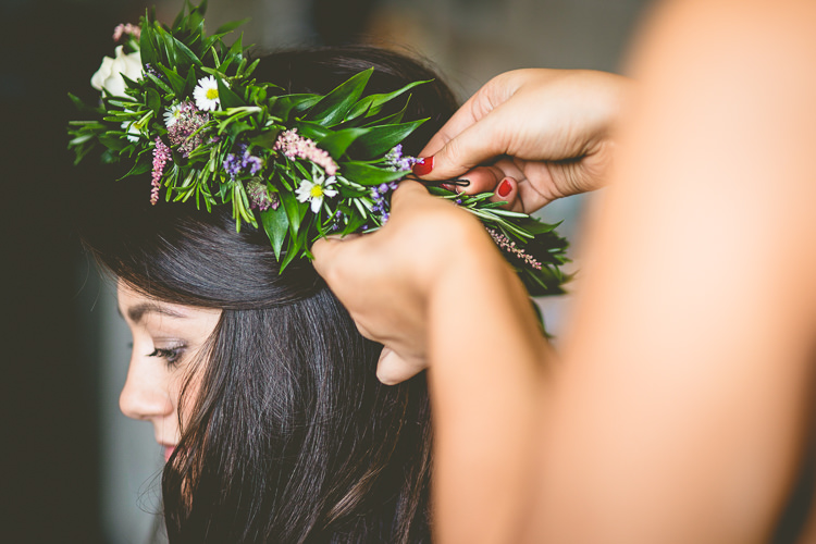 Flower Crown Bride Bridal Greenery Daisy Rustic Bohemian DIY Barn Wedding http://lovethatsmilephotography.com/