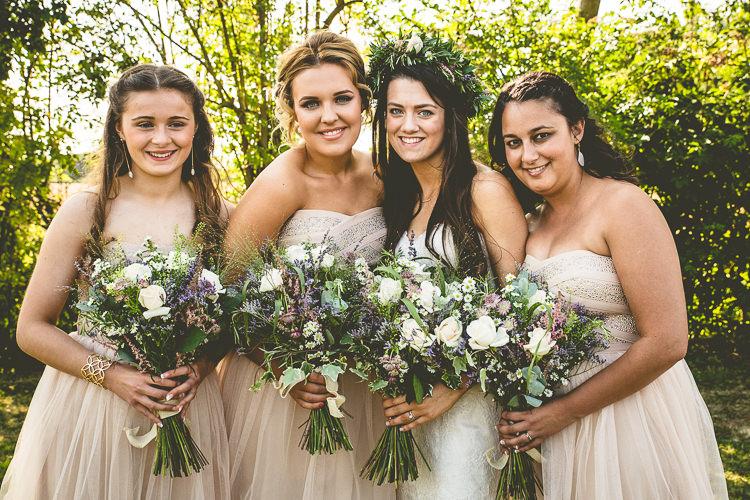 White Blush Bridesmaid Dresses Rustic Bohemian DIY Barn Wedding http://lovethatsmilephotography.com/