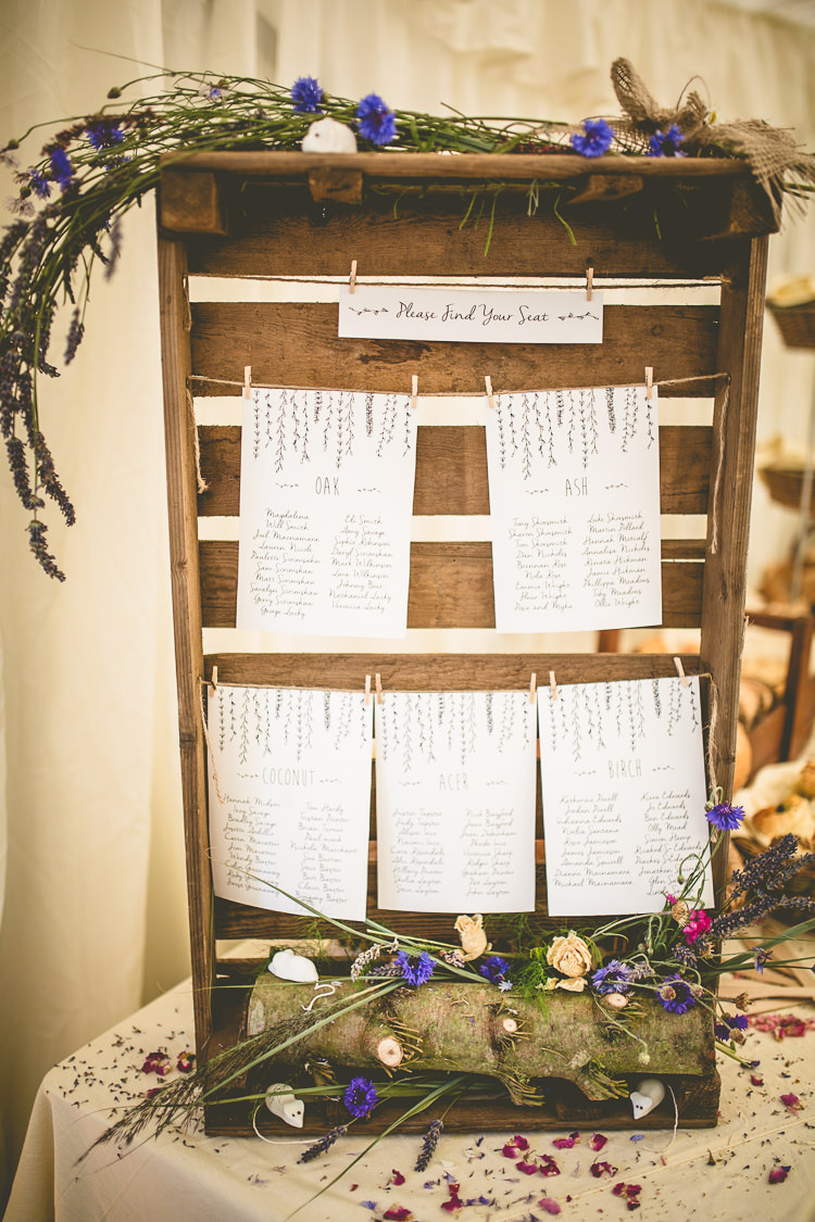 Wooden Crate Seating Chart Table Plan Flowers Pegs Rustic Bohemian DIY Barn Wedding http://lovethatsmilephotography.com/