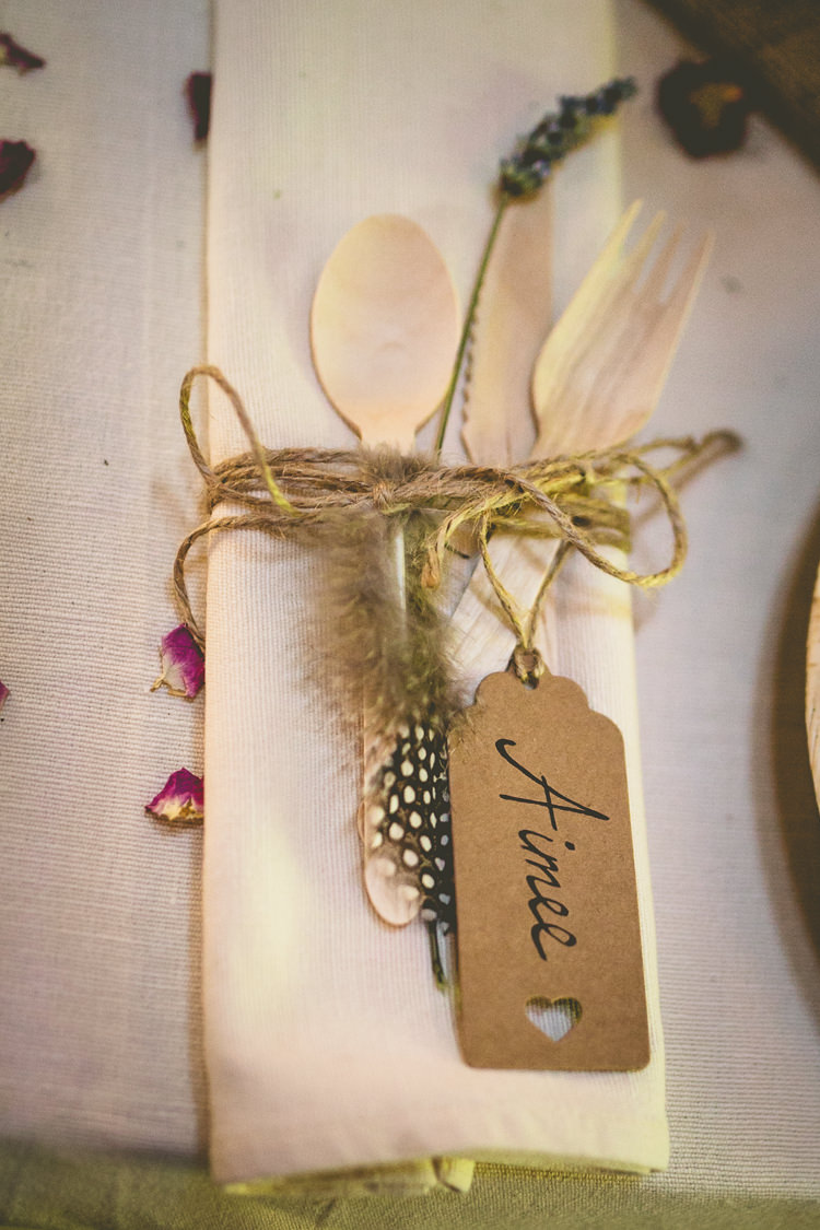 Place Setting Name Luggage Tag Feather Lavender Rustic Bohemian DIY Barn Wedding http://lovethatsmilephotography.com/
