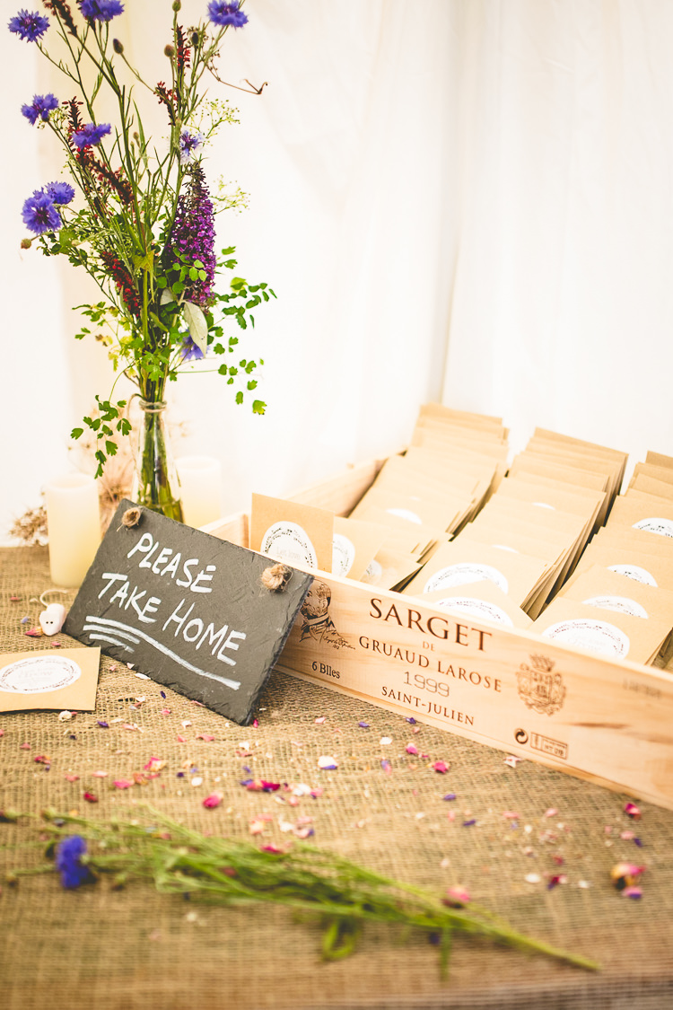 Seed Favours Crate Rustic Bohemian DIY Barn Wedding http://lovethatsmilephotography.com/