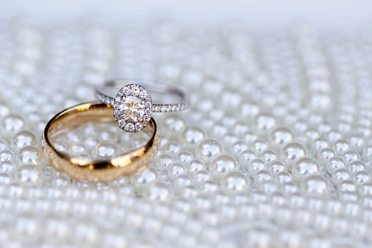 Wedding Engagement Rings Oval Diamond Gold Pearl Background Romantic Mountain Wedding Colorado http://irvingphotographydenver.com/