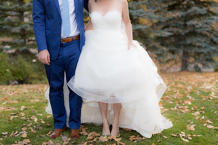 Bride Strapless Ballgown Bridal Gown Groom Blue Suit White Shirt Light Blue Tie Tan Belt Shoes Romantic Mountain Wedding Colorado http://irvingphotographydenver.com/