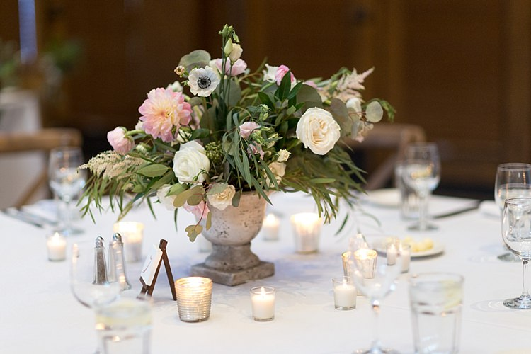Reception Table Setting Potted Multicoloured Pastel Florals Roses Peonies Anemones Greenery Mini Wooden Easel Table Number Candles Romantic Mountain Wedding Colorado http://irvingphotographydenver.com/
