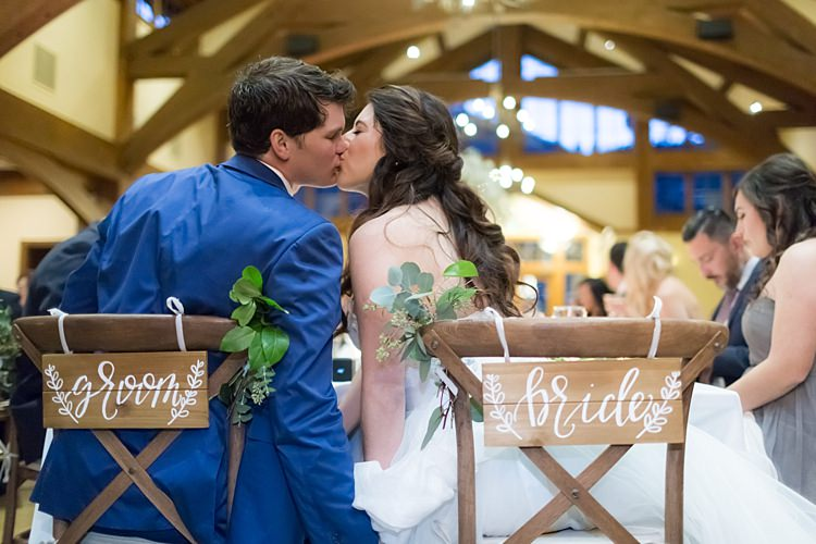 Reception Bride Groom Wooden Chairs Wooden Bride Groom Signs White Ribbons Greenery Guests Romantic Mountain Wedding Colorado http://irvingphotographydenver.com/