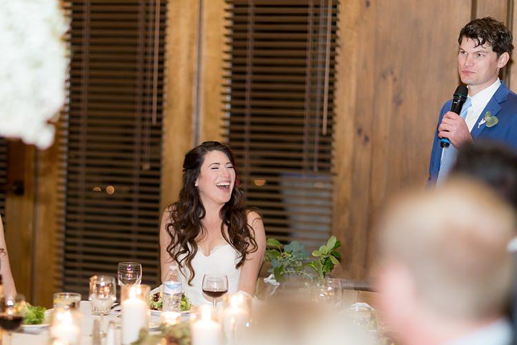 Reception Speeches Bride Strapless Lace Ballgown Bridal Gown Groom Blue Suit White Shirt Light Blue Tie Candles Guests Romantic Mountain Wedding Colorado http://irvingphotographydenver.com/