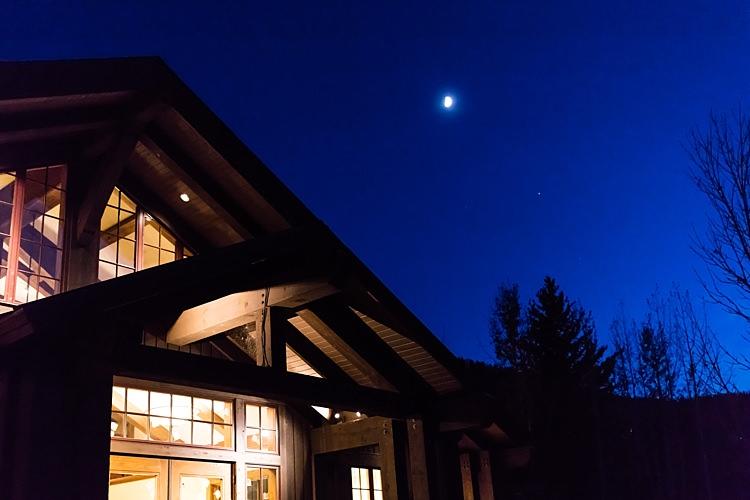 Reception Venue Rustic Wooden Hall Moonlight Romantic Mountain Wedding Colorado http://irvingphotographydenver.com/