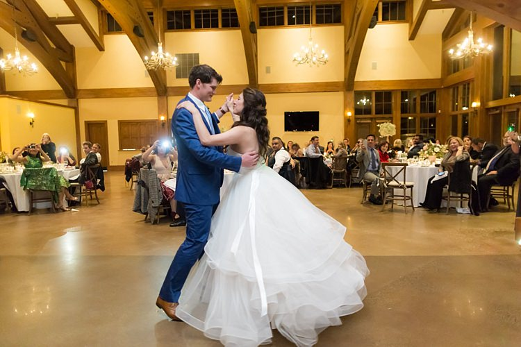 Reception First Dance Bride Strapless Lace Bridal Gown Groom Blue Suit White Shirt Light Blue Tie Guests Romantic Mountain Wedding Colorado http://irvingphotographydenver.com/