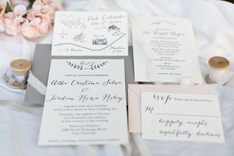 Wedding Stationery Invitation RSVP White Grey Calligraphy Pale Pink Grey Envelopes Romantic Mountain Wedding Colorado http://irvingphotographydenver.com/