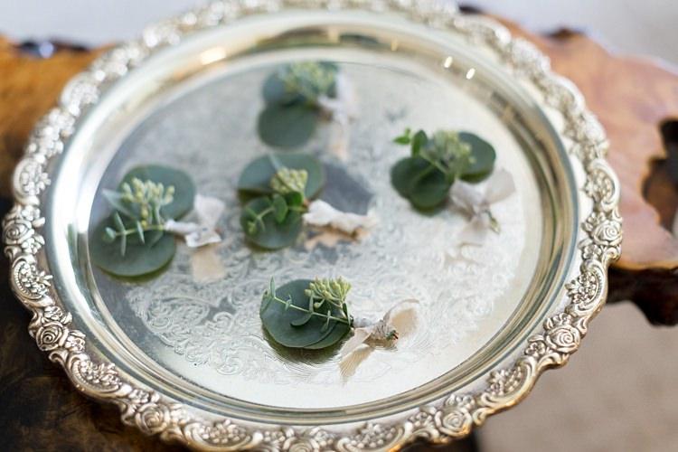 Buttonholes Greenery White Ribbons Silver Tray Romantic Mountain Wedding Colorado http://irvingphotographydenver.com/