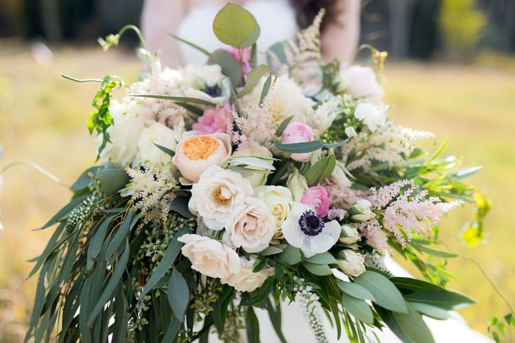 Bride Bouquet Multicoloured Pastel Roses Peonies Anemones Greenery Florals Romantic Mountain Wedding Colorado http://irvingphotographydenver.com/