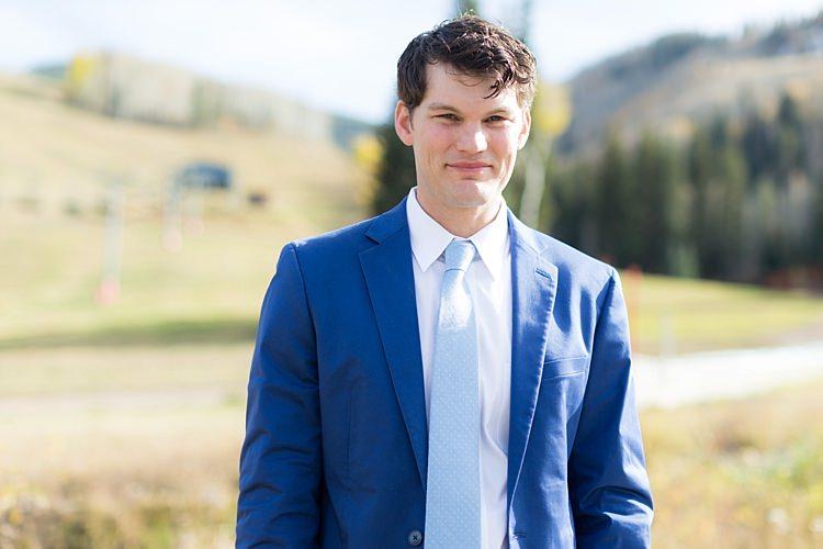 Groom Blue Suit White Shirt Light Blue Tie Romantic Mountain Wedding Colorado http://irvingphotographydenver.com/