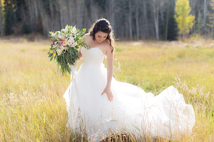 Bride Strapless Lace Ballgown Bridal Gown Bouquet Multicoloured Pastel Roses Peonies Anemones Greenery Florals Romantic Mountain Wedding Colorado http://irvingphotographydenver.com/