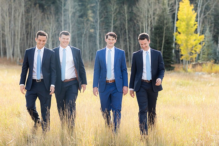 Groom Blue Suit White Shirt Light Blue Tie Tan Belt Groomsmen Navy Suits White Shirts Light Blue Ties Romantic Mountain Wedding Colorado http://irvingphotographydenver.com/
