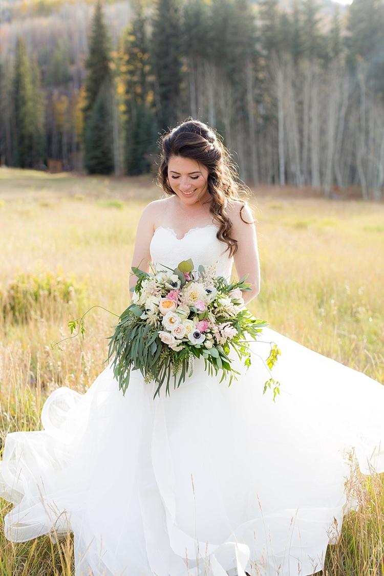 Bride Strapless Lace Ballgown Bridal Gown Bouquet Multicoloured Pastel Peonies Roses Anemones Flowers Romantic Mountain Wedding Colorado http://irvingphotographydenver.com/