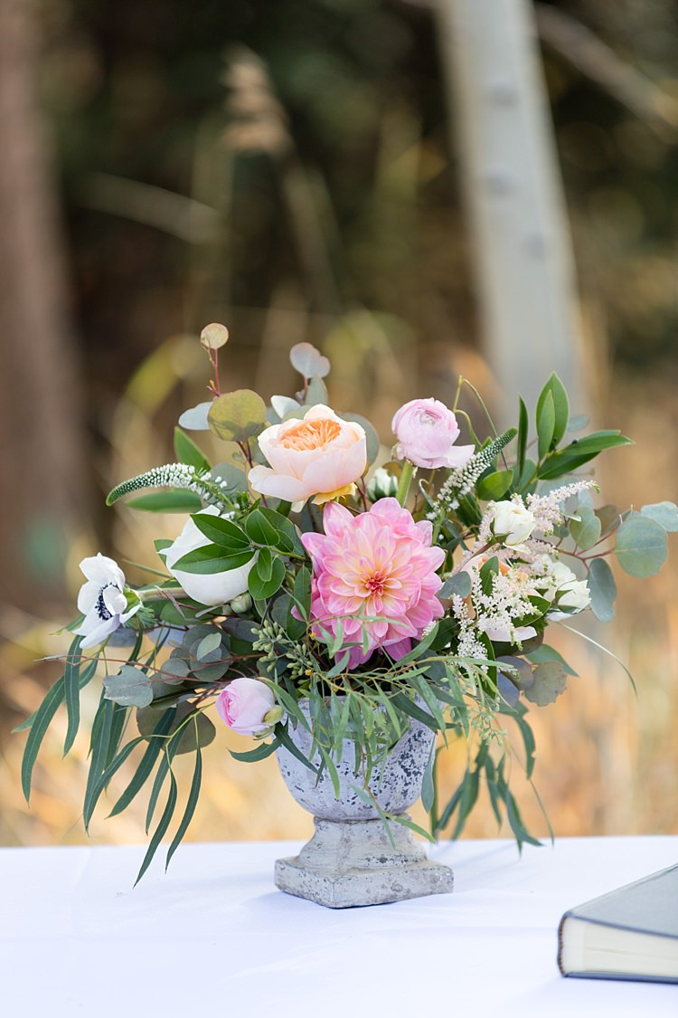 Outdoor Ceremony Potted Multicoloured Florals Peonies Roses Anemones Greenery Romantic Mountain Wedding Colorado http://irvingphotographydenver.com/