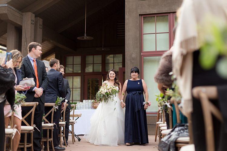 Outdoor Ceremony Bride Strapless Lace Ballgown Bridal Gown Bouquet Multicoloured Pastel Florals Mother Entrance Guests Romantic Mountain Wedding Colorado http://irvingphotographydenver.com/