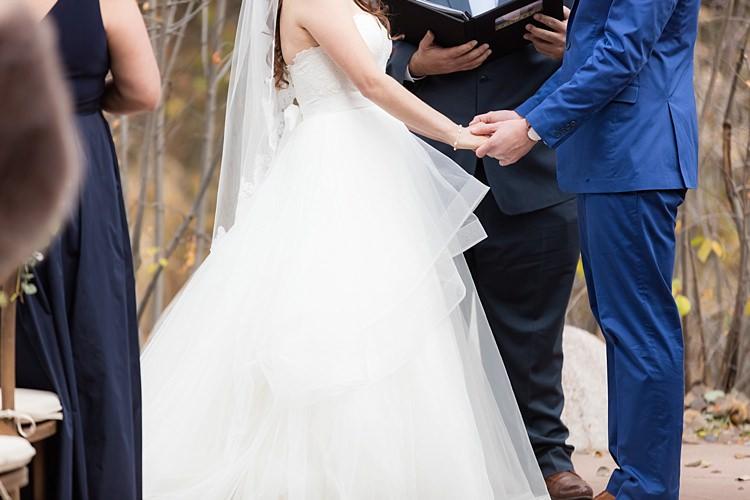 Outdoor Ceremony Bride Strapless Lace Ballgown Bridal Gown Veil Groom Blue Suit Celebrant Romantic Mountain Wedding Colorado http://irvingphotographydenver.com/