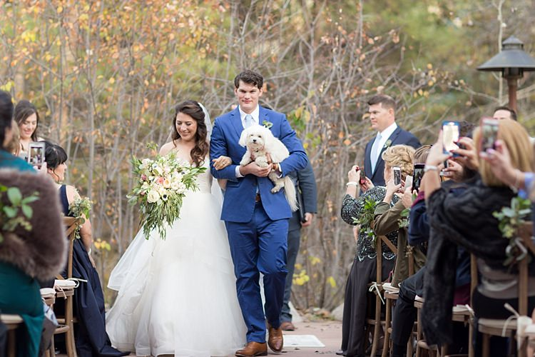 Outdoor Ceremony Bride Strapless Lace Ballgown Bridal Gown Veil Bouquet Multicoloured Pastel Florals Groom Blue Suit Light Blue Tie Cute Puppy Guests Romantic Mountain Wedding Colorado http://irvingphotographydenver.com/