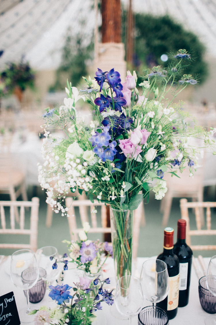 Wild Natural Flowers Vases Seasonal Blue Purple Pretty Quintessential English Country Garden Wedding http://blondiephotography.co.uk/