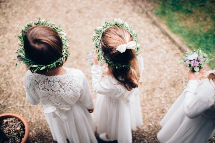 Flower Girls Crowns Hair Pretty Quintessential English Country Garden Wedding http://blondiephotography.co.uk/