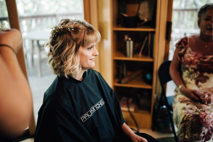Bride Getting Ready Loose Curls Gypsophila Hairstyle Adventure Inspired Woodland Wedding North Carolina http://www.amandasuttonphotography.com/