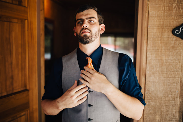 Groom Grey Vest Navy Blue Shirt Orange Tie Adventure Inspired Woodland Wedding North Carolina http://www.amandasuttonphotography.com/