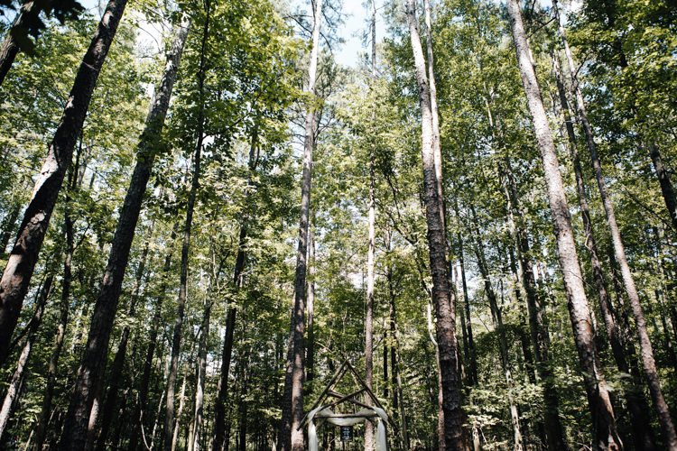 Outdoor Ceremony Location Decorated Wooden Arbour Tall Trees Adventure Inspired Woodland Wedding North Carolina http://www.amandasuttonphotography.com/