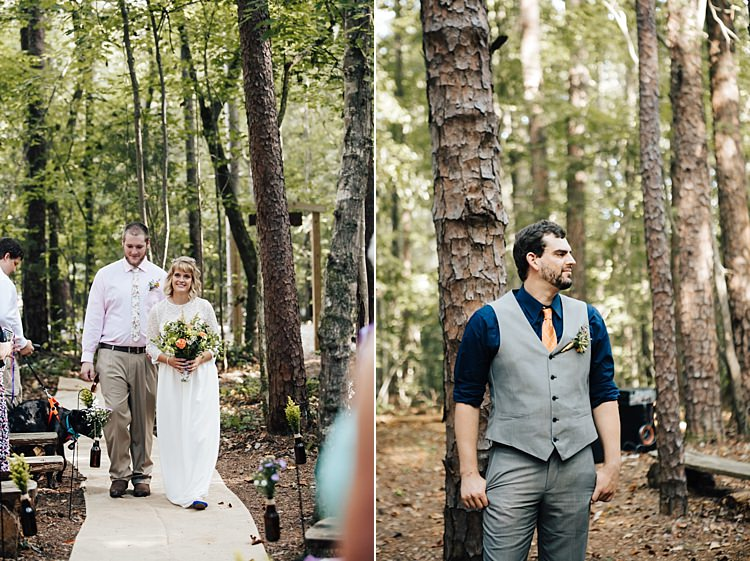 Outdoor Ceremony Bride Handmade Lace Floral Belt Bridal Gown Bouquet Groom Grey Vest Pants Navy Blue Shirt Orange Checkered Tie Adventure Inspired Woodland Wedding North Carolina http://www.amandasuttonphotography.com/