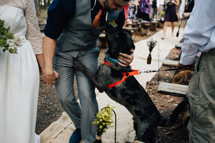 Outdoor Ceremony Bride Groom Dog Ring Bearer Guests Adventure Inspired Woodland Wedding North Carolina http://www.amandasuttonphotography.com/