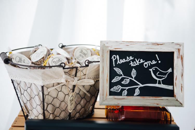 Reception DIY Guest Favours Bird Feeder Blackboard Sign Adventure Inspired Woodland Wedding North Carolina http://www.amandasuttonphotography.com/