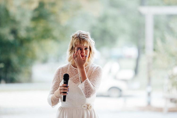 Reception Speeches Bride Handmade Lace Floral Belt Bridal Gown Blue Nail Polish Adventure Inspired Woodland Wedding North Carolina http://www.amandasuttonphotography.com/