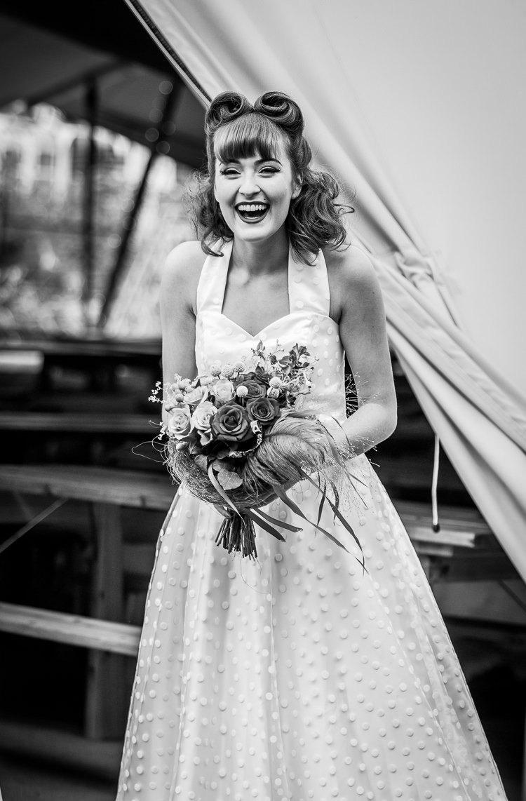 Short Polka Dot Dress Gown Bride Bridal Honeypie Boutique Colourful Vintage Comic Book Wedding Ideas http://www.hayleypettitphotography.com/
