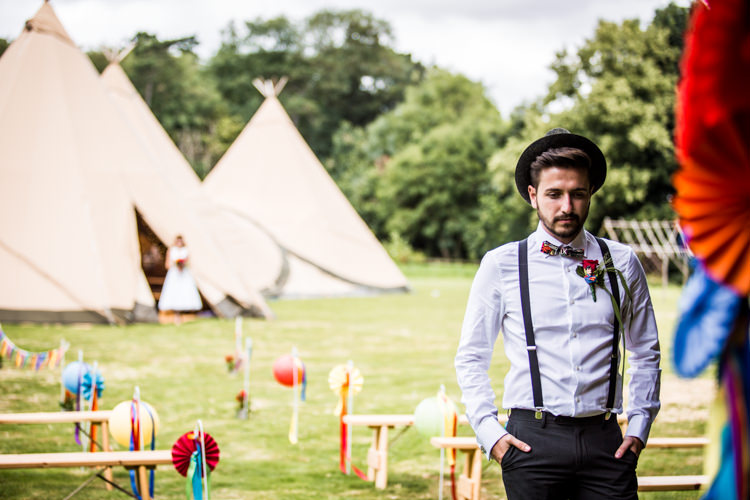 Braces Bow Tie Trilby Groom Colourful Vintage Comic Book Wedding Ideas http://www.hayleypettitphotography.com/