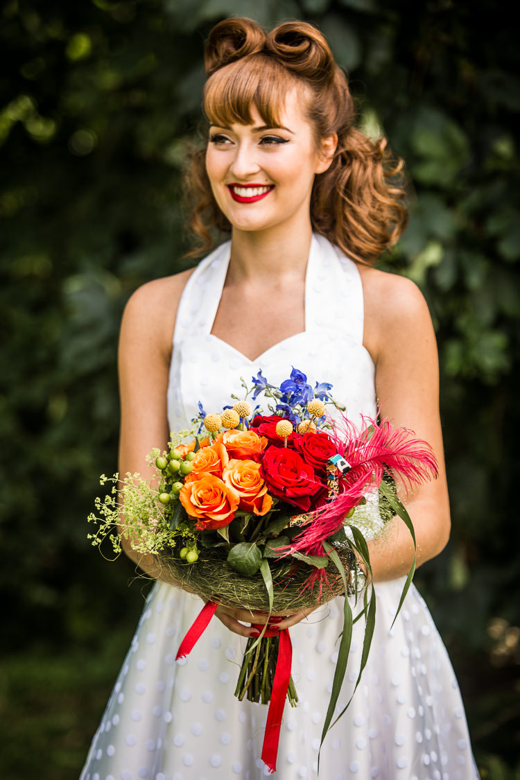 Bride Bridal Hair Make Up Victory Rolls Bouquet Flowers Colourful Vintage Comic Book Wedding Ideas http://www.hayleypettitphotography.com/