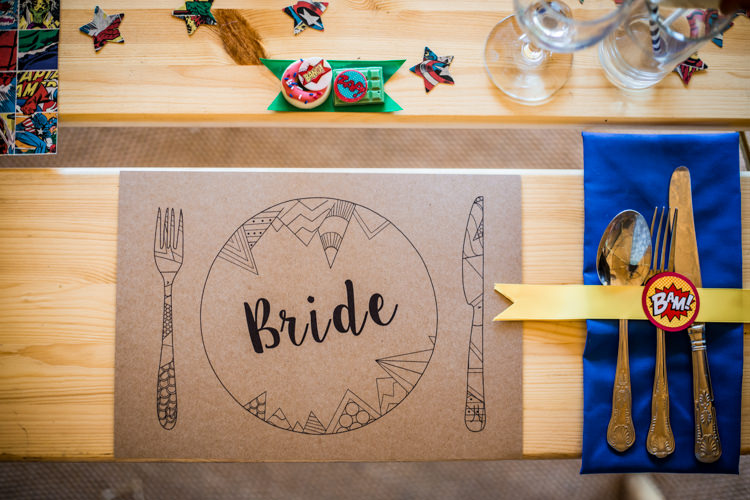 Place Mat Setting Decor Colourful Vintage Comic Book Wedding Ideas http://www.hayleypettitphotography.com/
