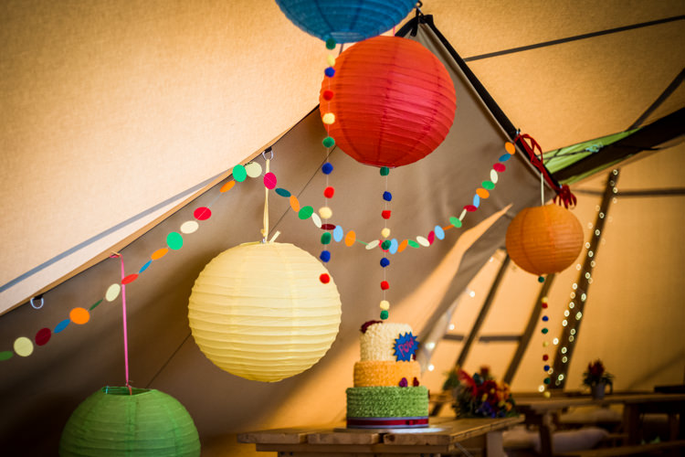 Cake Table Tipi Lanterns Garlands Colourful Vintage Comic Book Wedding Ideas http://www.hayleypettitphotography.com/