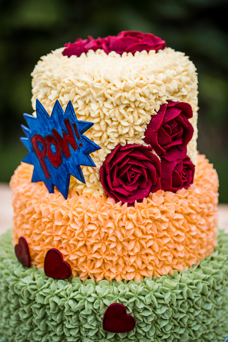 Buttercream Cake Colourful Vintage Comic Book Wedding Ideas http://www.hayleypettitphotography.com/