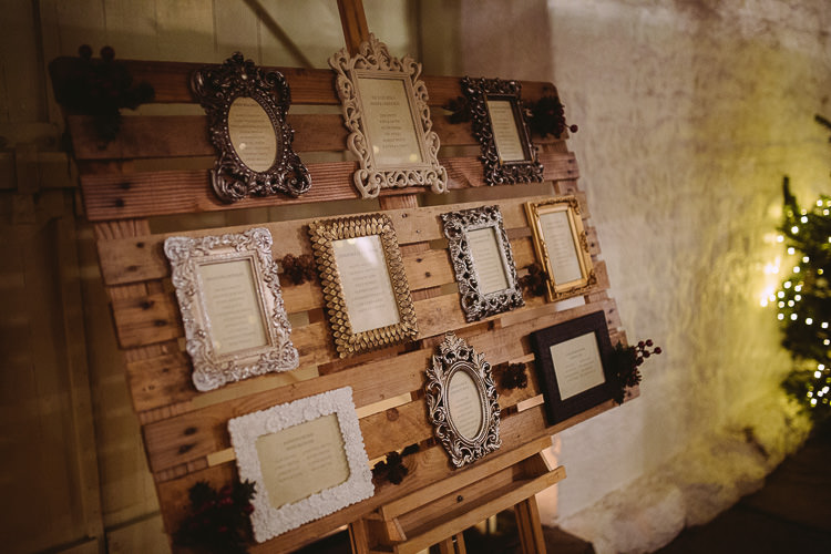 Frame Pallet Seating Plan Table Chart Magical Winter Rustic Wonderland Wedding http://hayleybaxterphotography.com/