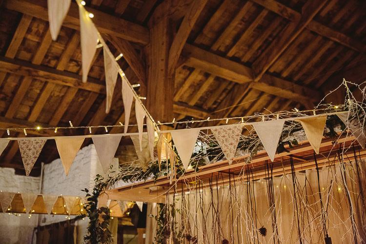 Bunting Fairy Lights Magical Winter Rustic Wonderland Wedding http://hayleybaxterphotography.com/