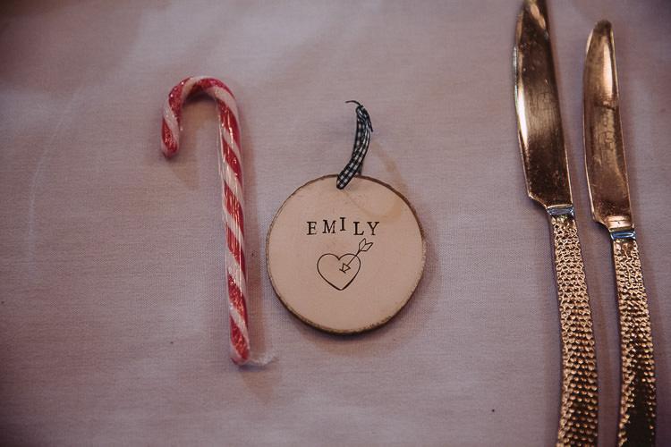 Log Place Name Christmas Decoration Favour Magical Winter Rustic Wonderland Wedding http://hayleybaxterphotography.com/