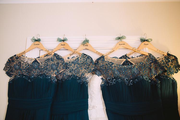 Customised Dress Hangers Bride Bridesmaid Magical Winter Rustic Wonderland Wedding http://hayleybaxterphotography.com/
