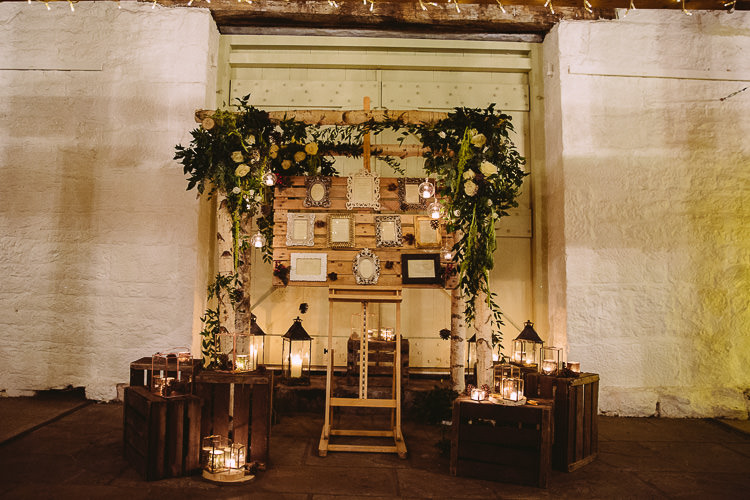 Decor Wooden Flowers Crates Backdrop Flowers Candles Magical Winter Rustic Wonderland Wedding http://hayleybaxterphotography.com/