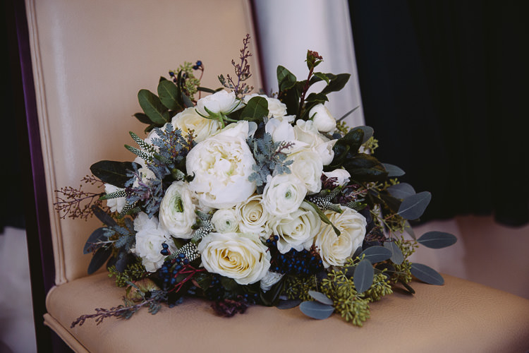 Bouquet White Foliage Greenery Rose Peony Bride Bridal Magical Winter Rustic Wonderland Wedding http://hayleybaxterphotography.com/