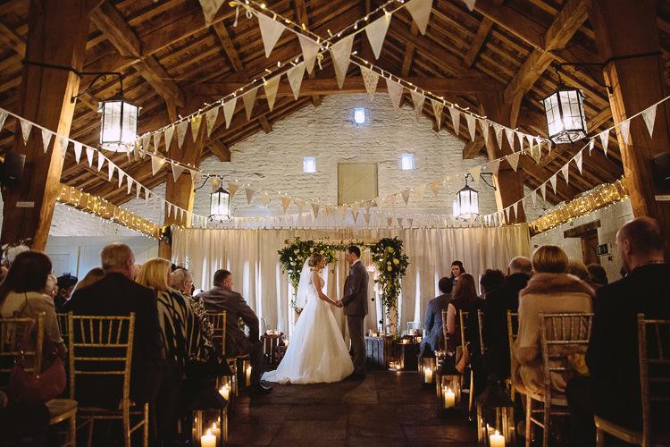 Ceremony Candles Lights Barn Aisle Decor Magical Winter Rustic Wonderland Wedding http://hayleybaxterphotography.com/