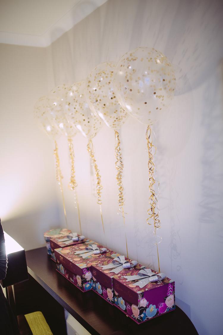 Bridesmaid Gift Present Box Balloons Magical Winter Rustic Wonderland Wedding http://hayleybaxterphotography.com/