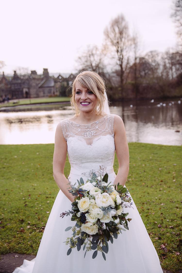 Bride Bridal Dress Gown Flowers Magical Winter Rustic Wonderland Wedding http://hayleybaxterphotography.com/