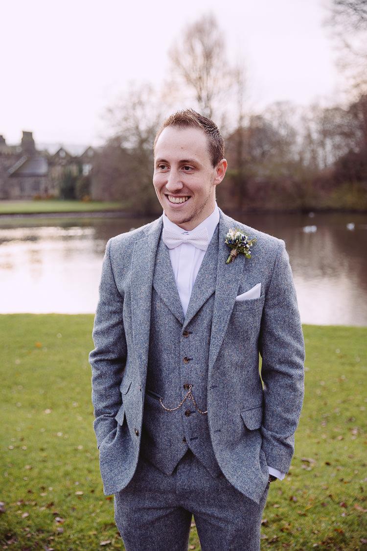 Bow Tie Groom Grey Tweed Suit Magical Winter Rustic Wonderland Wedding http://hayleybaxterphotography.com/