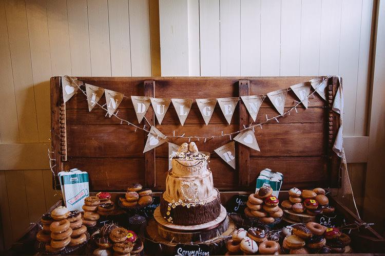 Indulgence Bar Cake Donuts Table Dessert Magical Winter Rustic Wonderland Wedding http://hayleybaxterphotography.com/