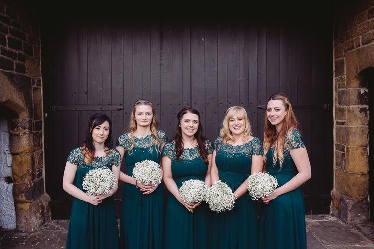 Emerald Green Bridesmaid Dresses Gyp Gypsophila Bouquets Magical Winter Rustic Wonderland Wedding http://hayleybaxterphotography.com/